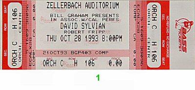 David Sylvian1990s Ticket