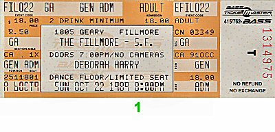 Deborah Harry 1980s Ticket