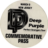 Deep Purple Backstage Pass