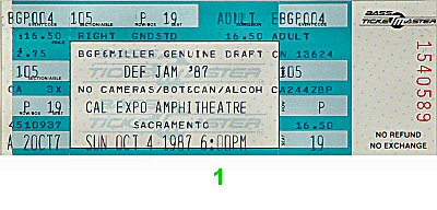 Def Jam Tour '87 1980s Ticket