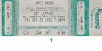 Def Leppard1990s Ticket