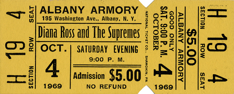 Diana Ross & The Supremes1960s Ticket