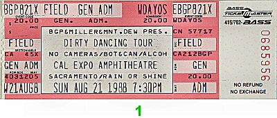 Dirty Dancing Tour 1980s Ticket