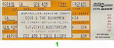 Echo & the Bunnymen 1980s Ticket
