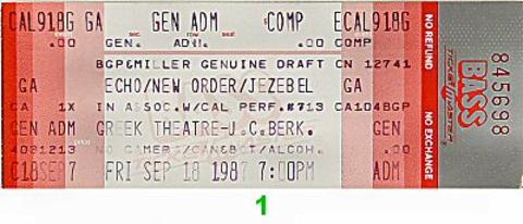 Echo & the Bunnymen Vintage Ticket