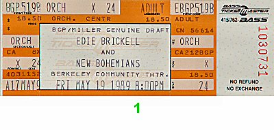 Edie Brickell &amp; New Bohemians1980s Ticket