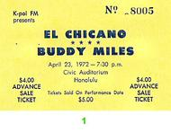Buddy Miles 1970s Ticket