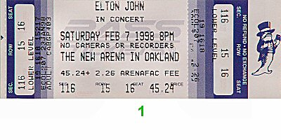 Elton John1990s Ticket