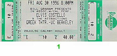 Elvis Costello & the Attractions 1990s Ticket