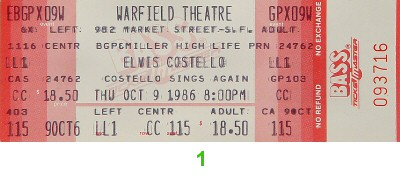 Elvis Costello 1980s Ticket