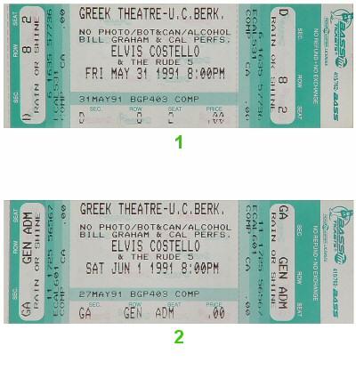 Elvis Costello1990s Ticket