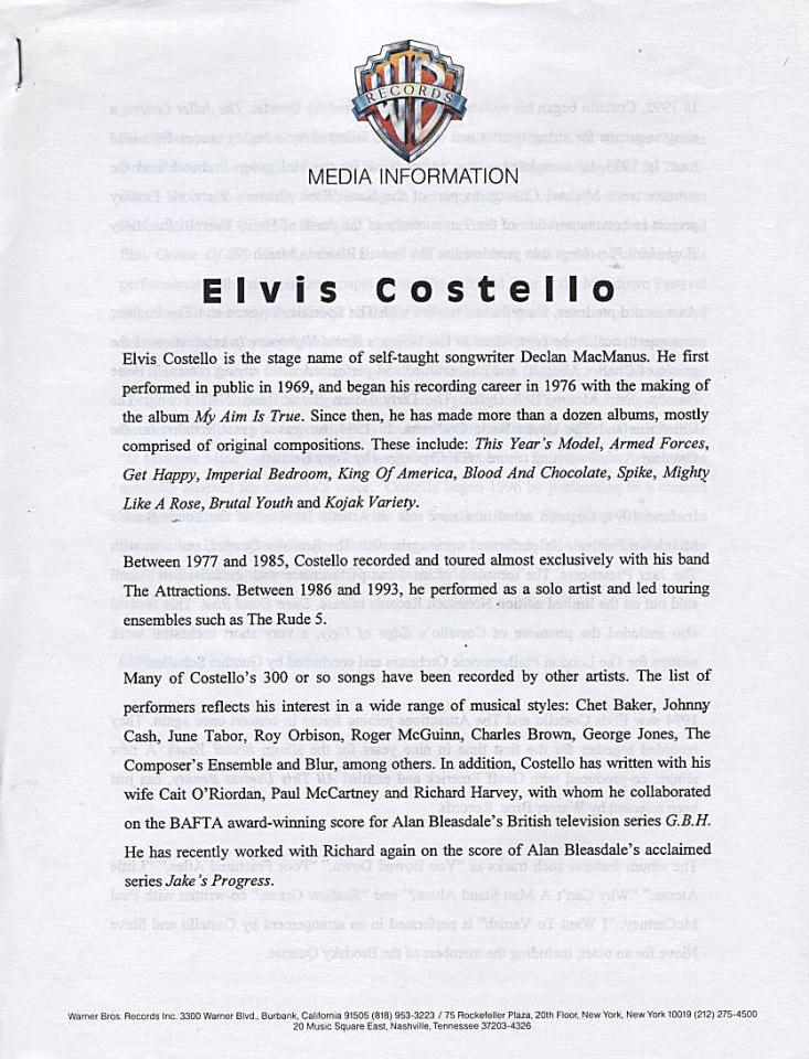 Elvis Costello Program