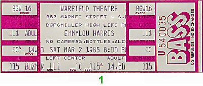 Emmylou Harris 1980s Ticket