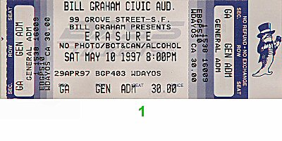 Erasure 1990s Ticket