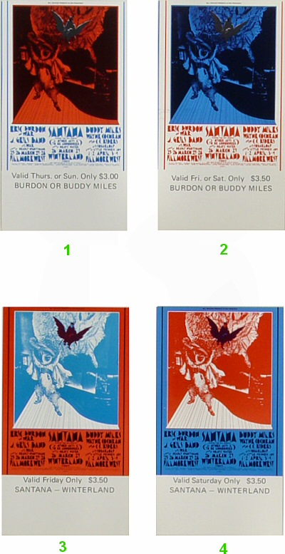Eric Burdon & War1970s Ticket