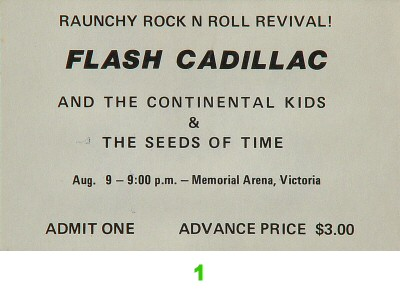 Flash Cadillac & the Continental Kids1970s Ticket