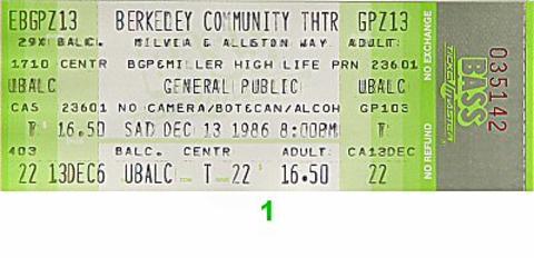 General Public Vintage Ticket