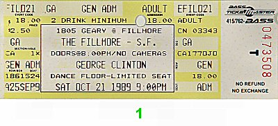 George Clinton &amp; the P-Funk All-Stars1980s Ticket