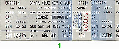 George Thorogood & The Delaware Destroyers 1980s Ticket