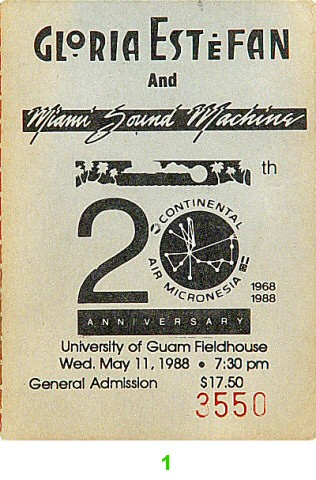 Gloria Estefan 1980s Ticket