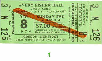 Gordon Lightfoot 1970s Ticket