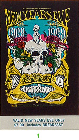 Grateful Dead 1960s Ticket