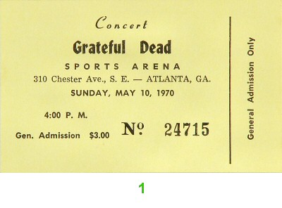Grateful Dead 1970s Ticket
