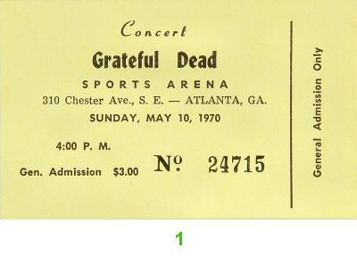 Grateful Dead1970s Ticket