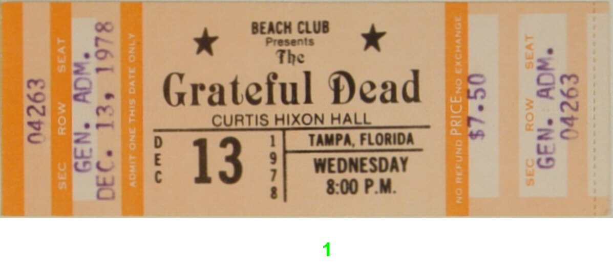 Grateful Dead1970s Ticket