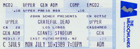 Grateful Dead Vintage Ticket