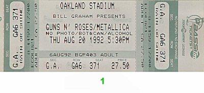 Guns N' Roses1990s Ticket