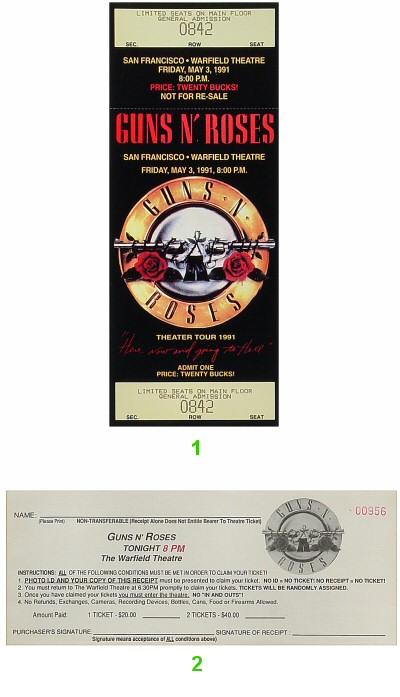 guns n 39 roses vintage ticket warfield theatre san francisco ca may 9 1991. Black Bedroom Furniture Sets. Home Design Ideas
