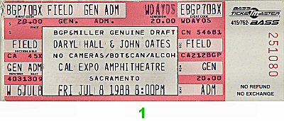 Hall & Oates 1980s Ticket