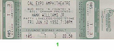 Hank Williams Jr.1990s Ticket