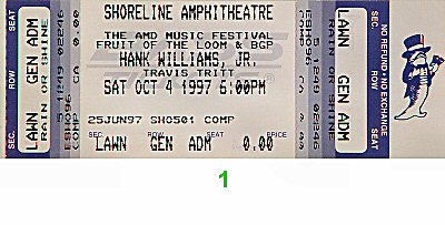 Hank Williams Jr. 1990s Ticket