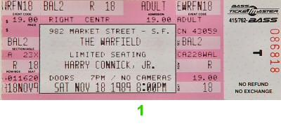 Harry Connick Jr. 1980s Ticket