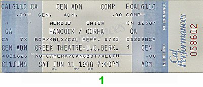 Herbie Hancock &amp; the Headhunters II1980s Ticket