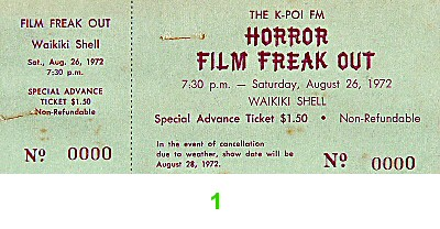 Horror Film Freakout 1970s Ticket