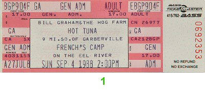 Hot Tuna 1980s Ticket