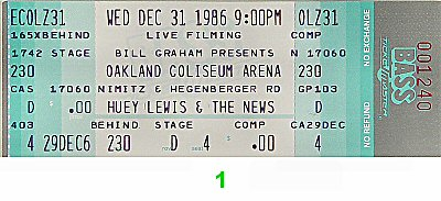 Huey Lewis &amp; the News1980s Ticket