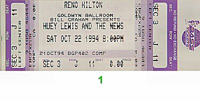 Huey Lewis & the News1990s Ticket