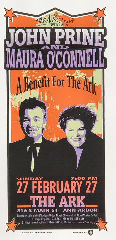 "John Prine Handbill from Ark Ann Arbor on 27 Feb 00: 4 1/4"" x 8 5/8"""