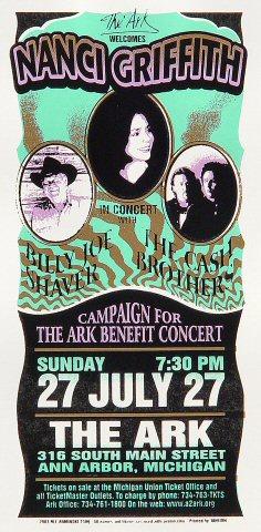 "Nanci Griffith Handbill from Ark Ann Arbor on 27 Jul 03: 4 1/4"" x 8 5/8"""