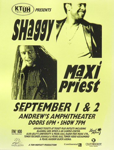 "Shaggy Handbill from Andrews Amphitheatre on 01 Sep 00: 8 1/2"" x 11"""