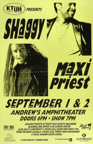 "Shaggy Poster from Andrews Amphitheatre on 01 Sep 00: 11"" x 17"""