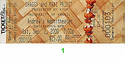 Shaggy Post 2000 Ticket from Andrews Amphitheatre on 02 Sep 00: Ticket One
