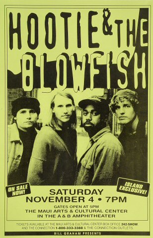 "Hootie & the Blowfish Poster from Alexander & Baldwin Amphitheatre on 04 Nov 95: 11"" x 17"""