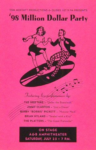 """The Drifters Handbill from Alexander & Baldwin Amphitheatre on 25 Jul 98: 5 1/2"""" x 8 1/2"""""""