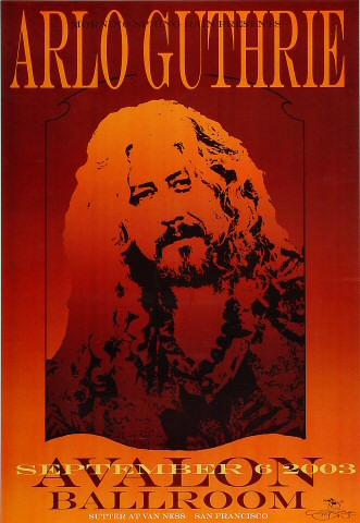 "Arlo Guthrie Poster from Avalon Ballroom on 06 Sep 03: 13"" x 19"""