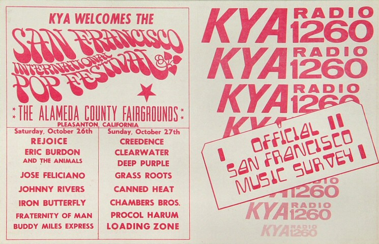 "Johnny Rivers Handbill from Alameda County Fairgrounds on 26 Oct 68: 4 1/4"" x 11"""